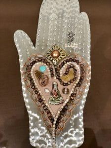 This heart and hand class project is by Patti F. during a class by Mary Ellen Beads Albuquerque.