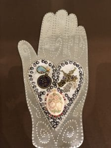 This heart and hand class project is by Julie G. during a class from Mary Ellen Beads Albuquerque.