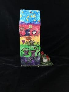 Mary Ellen Beads Albuquerque shows side 2 of the mixed media art project to benefit OffCenter Arts.