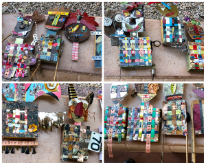 This is a collage of participant creations from the Spirit Protector class featuring assemblage A, b, C according to Mary Ellen Beads Albuquerque