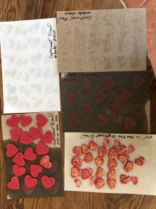 Mary Ellen Beads Albuquerque took this photo to show several cards with with the problems caused from using Michael's Craftsmark Clay.