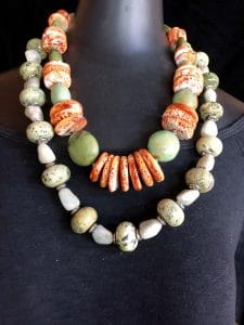 This traditional interpretation of turquoise and spiney oyster disks is part of a trunk show presentation by Mary Ellen Beads Albuquerque at Silk Road Connection.