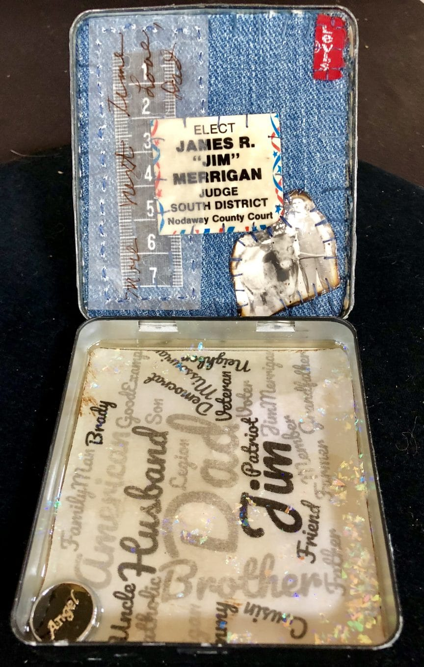 This is the inside of the Memory Keeper Altered Tin from Mary Ellen Beads Albuquerque.