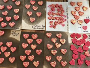 The cards shown here are from Mary Ellen Beads Albuquerque and show her red Michael's Craftsmark Clay experiments.