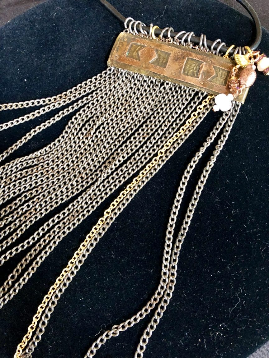 This necklace, called Unchained, by Mary Ellen Beads, Albuquerque, set a customer's theme for the year .